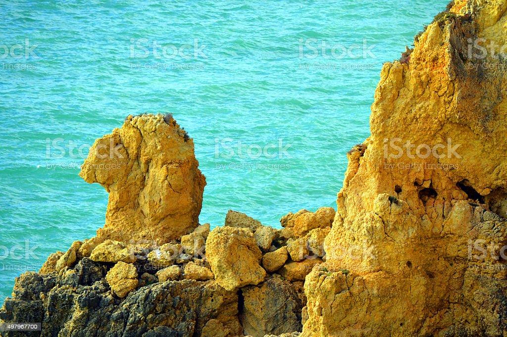 Ponta Da Piedade spectacular rock formations Camels head stock photo
