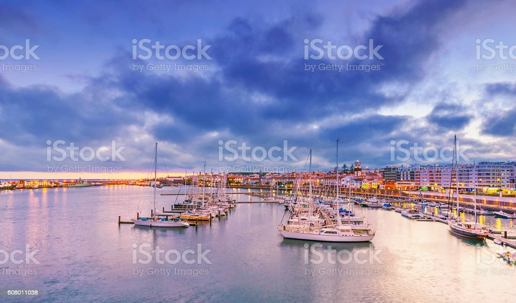 Ponta Delgada Harbour and Waterfront at dusk, Sao Miguel (Azores) stock photo