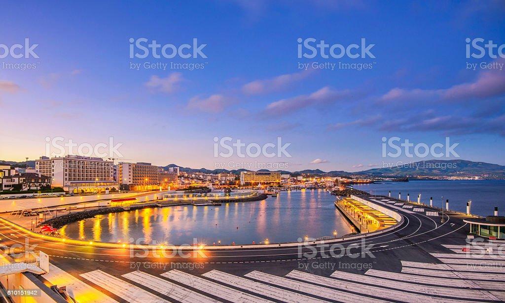 Ponta Delgada Promenade Waterfront, Sao Miguel (Azores) stock photo
