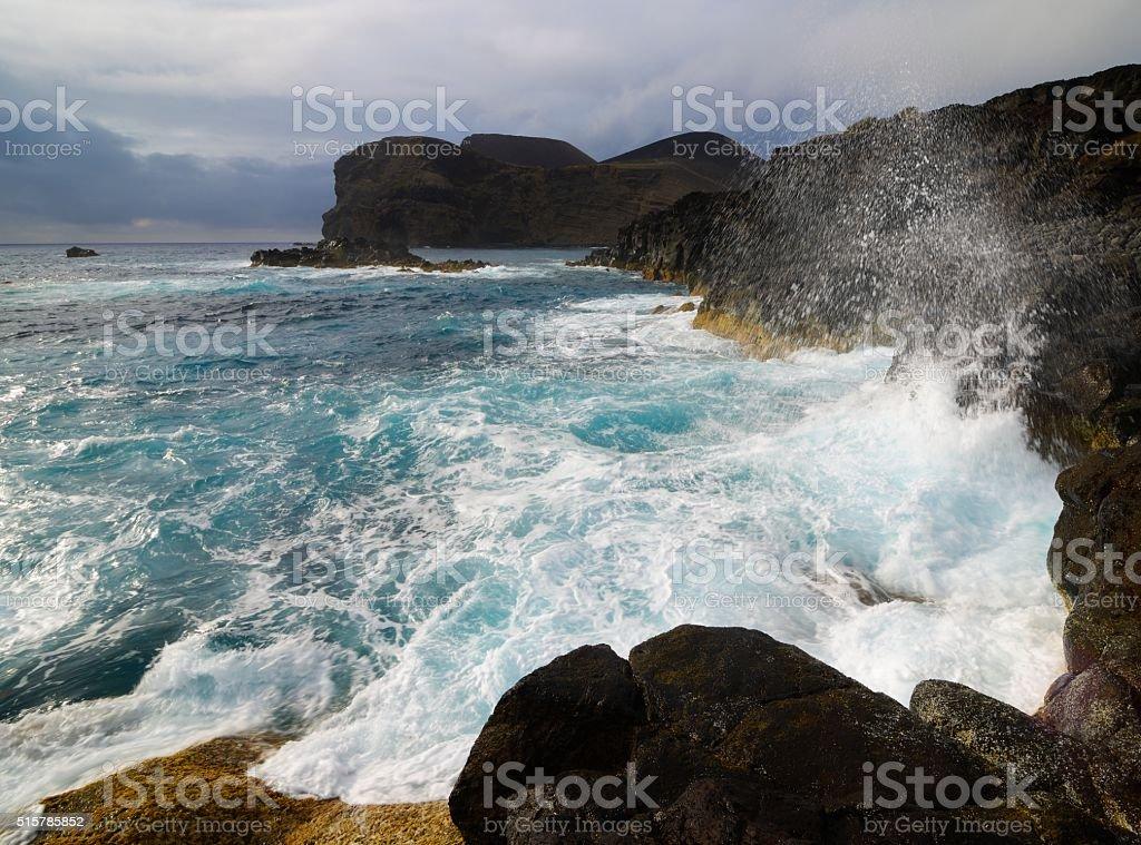 Ponta dos Capelinhos, Azores, Portugal stock photo