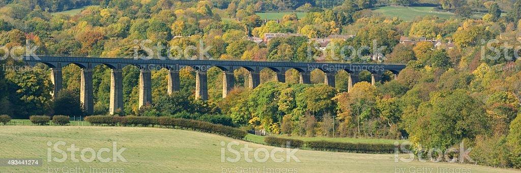 Pontcysyllte Aqueduct Autumal panorama stock photo