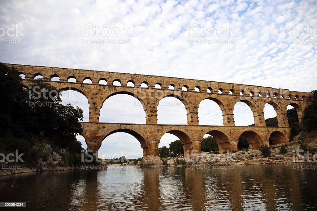 Pont-du-Gard aqueduct stock photo