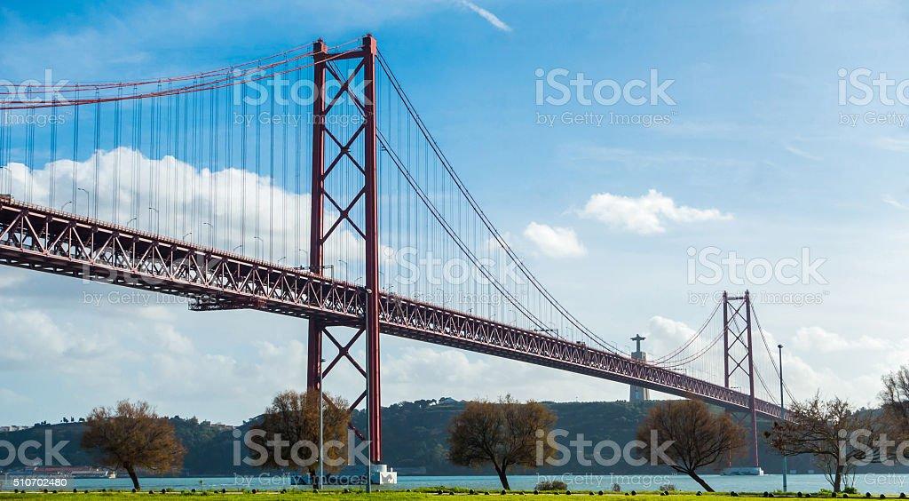 ponte 25 de abril cristo rei liboa portugal tajo bridge stock photo