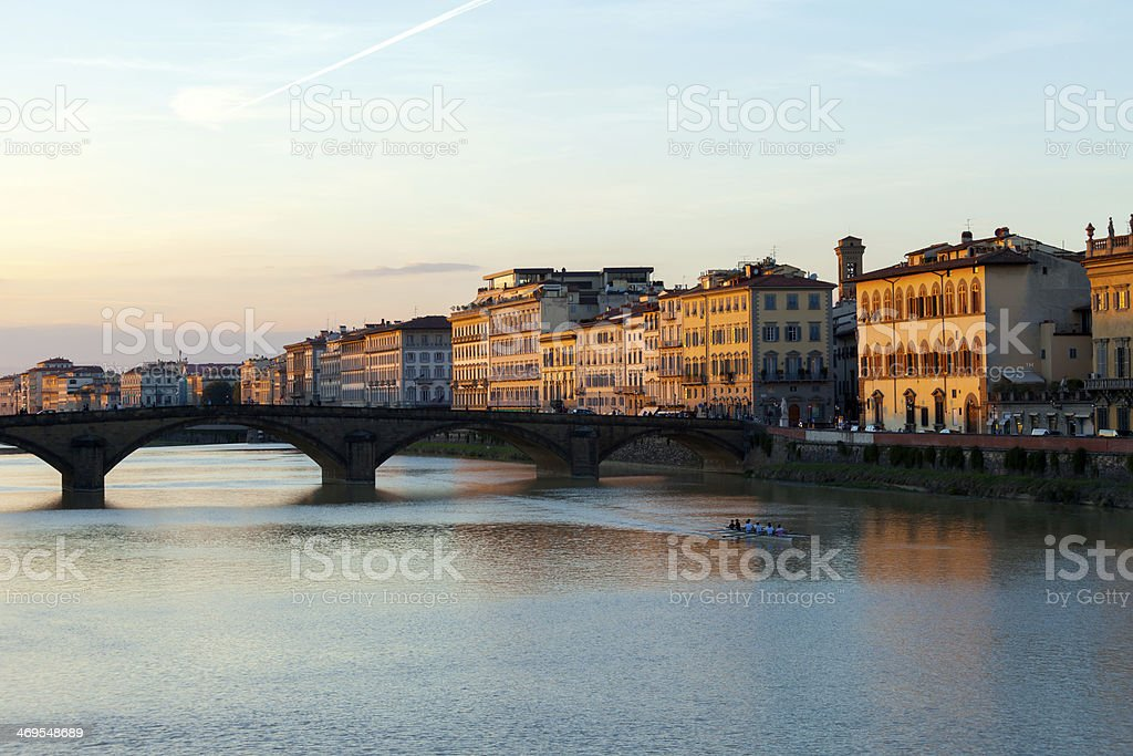 Ponte Alla Carraia At Dusk, Florence, Italy stock photo