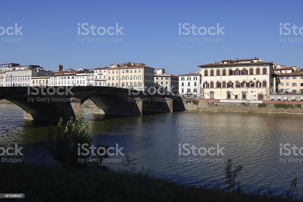 Ponte alla Carraia bridge and riverside, Florence Italy stock photo
