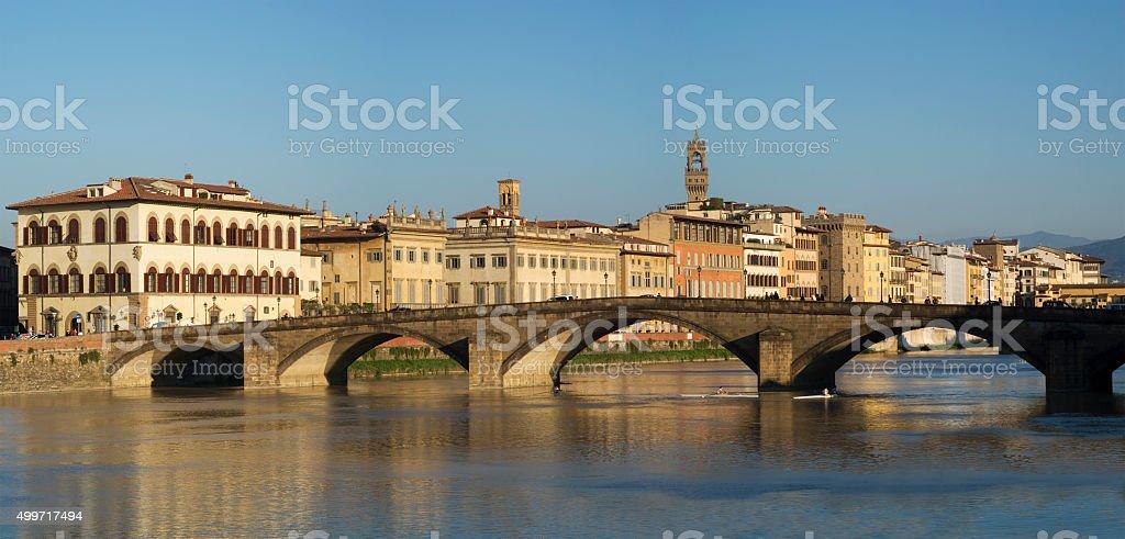 Ponte alla Carraia, Bridge on the Arno river, Florence stock photo