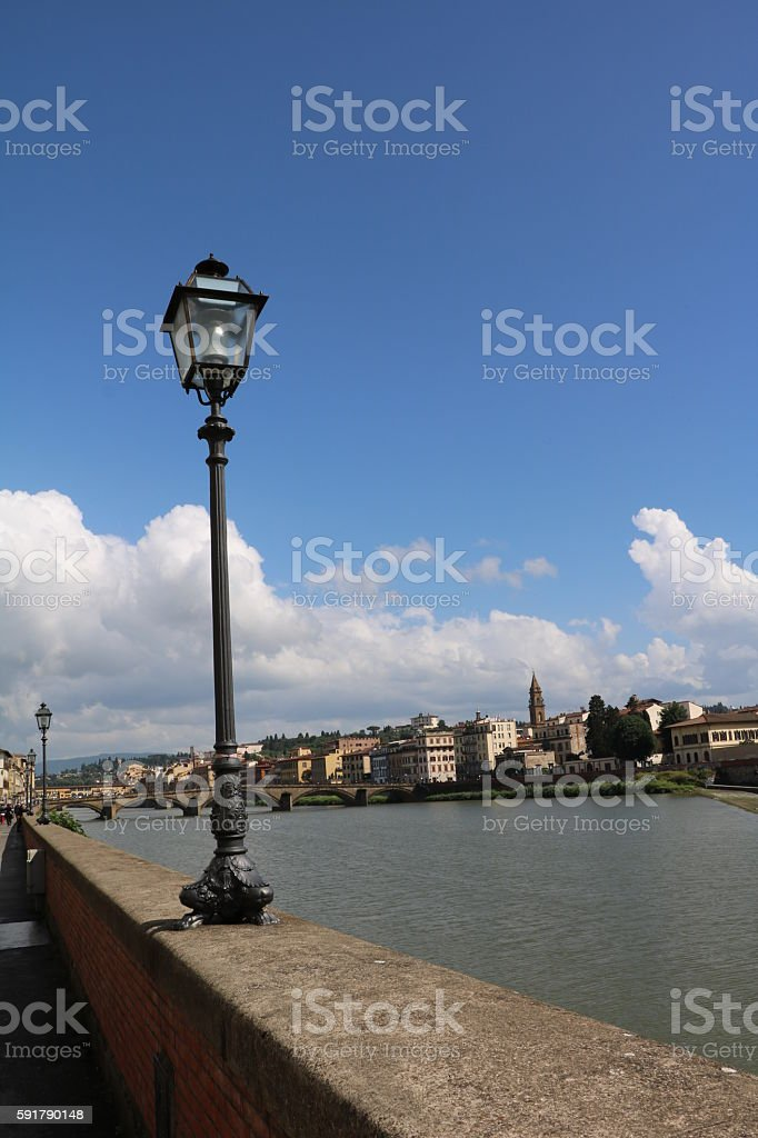 Ponte alla Carraia over River Arno in Florence Italy stock photo