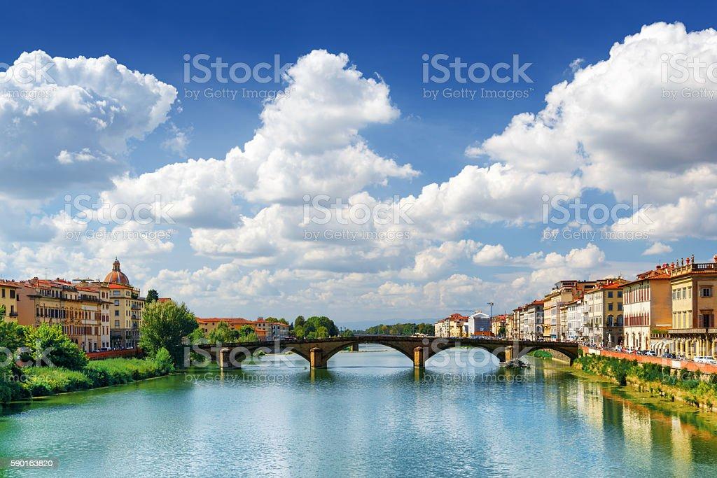 Ponte alla Carraia over the Arno River in Florence stock photo
