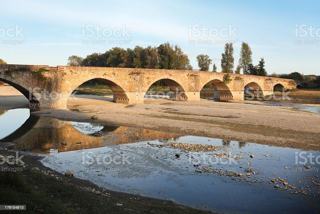 Ponte Buriano in Tuscany, Italy royalty-free stock photo