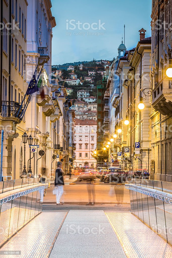 Ponte Curto and Trento Street in Trieste, Italy stock photo