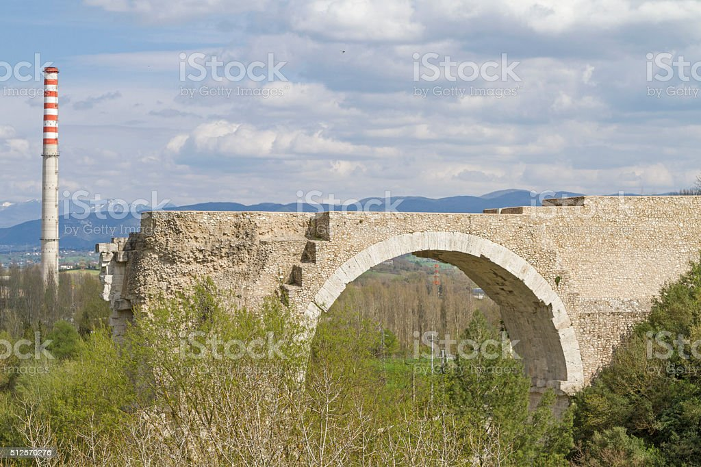Ponte d' Augusto in Narni stock photo