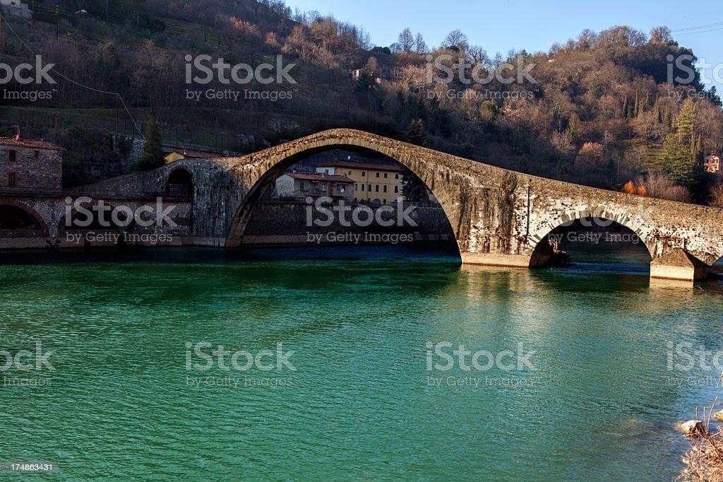 Ponte della Maddalena (Devil's Bridge) stock photo