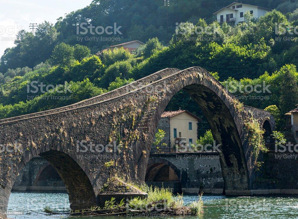 Ponte della Maddalena (Tuscany, Italy) stock photo