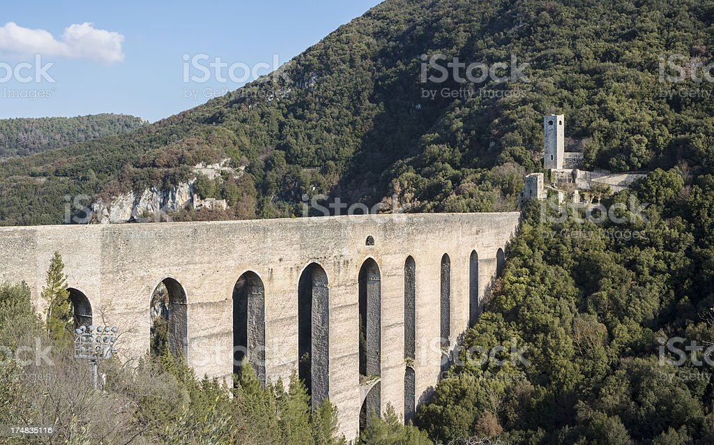Ponte delle Torri, Spoleto Umbria Italy royalty-free stock photo