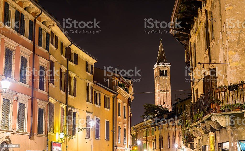 Ponte di Pietra street, campanile of Santa Anastasia church stock photo