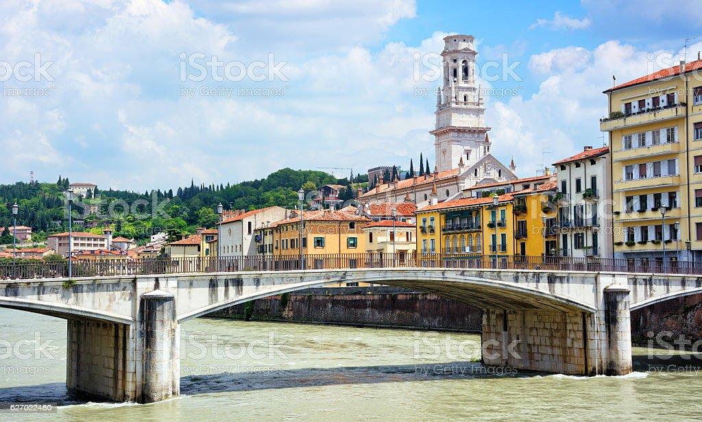 Ponte Garibaldi, Verona stock photo