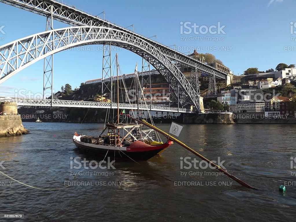 Ponte luis bridge and wine boat stock photo