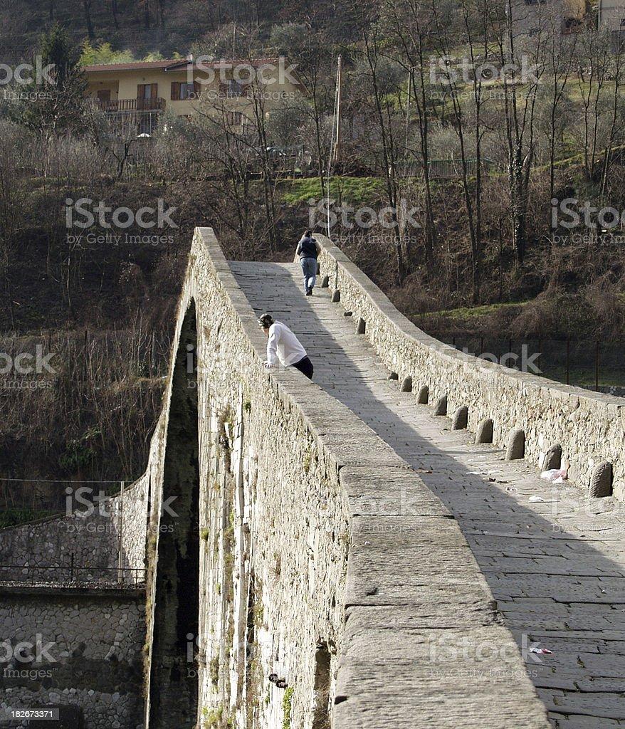 Ponte Maddalena- Bagni di Lucca stock photo