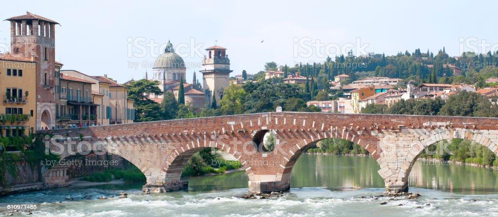 Ponte Pietra Bridge at Verona stock photo