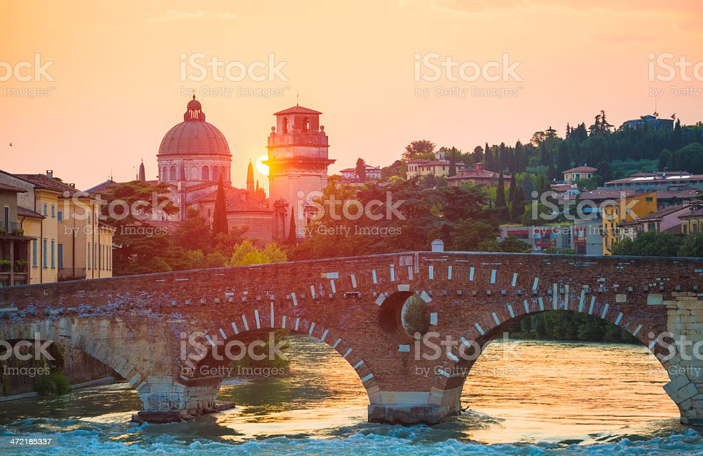 Ponte Pietra, Verona, Italy stock photo