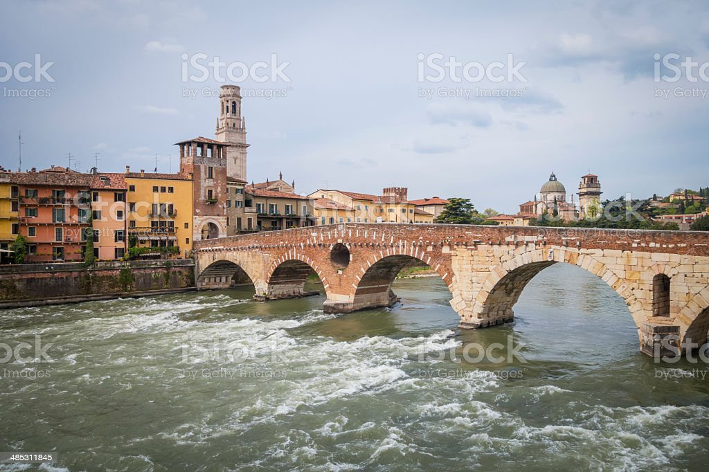 Ponte Pietra, Verona Italy royalty-free stock photo
