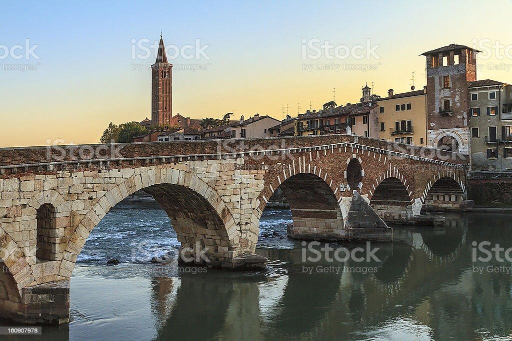 Ponte Pietra, Verona stock photo