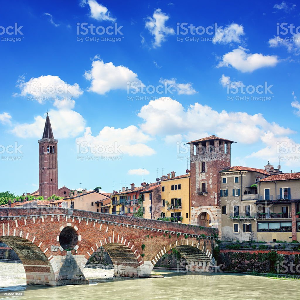Ponte Pietra, Verona stock photo