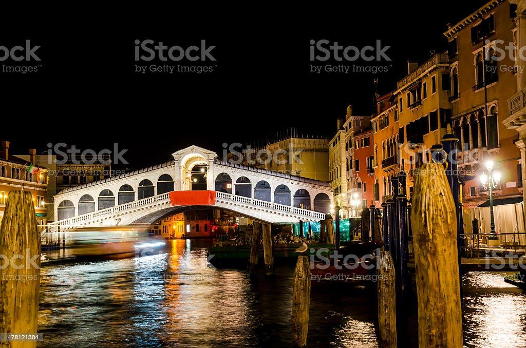 Ponte Rialto at NIGHT in Venice, Italy stock photo