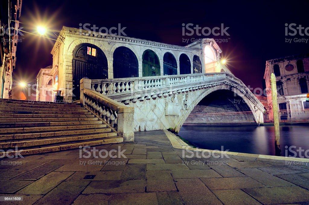 Ponte Rialto Bridge at Night royalty-free stock photo