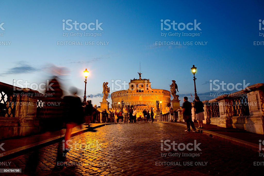 Ponte Sant Angelo and The Castel Sant'Angelo, Vatican, Rome stock photo