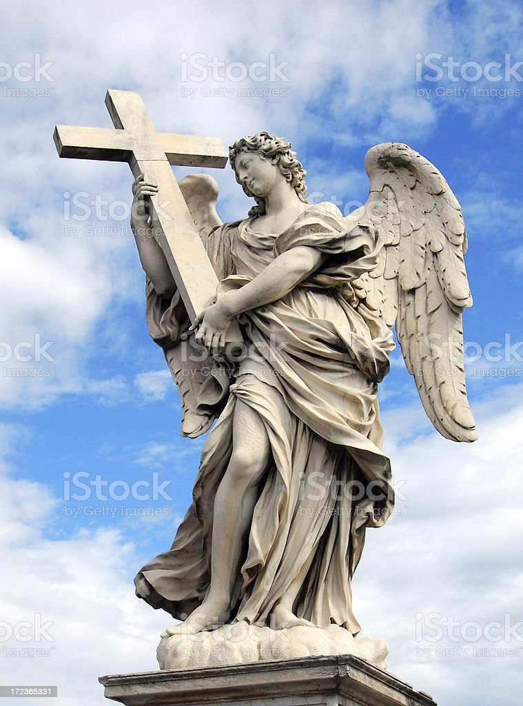 Ponte Sant Angelo Angel and Cross stock photo
