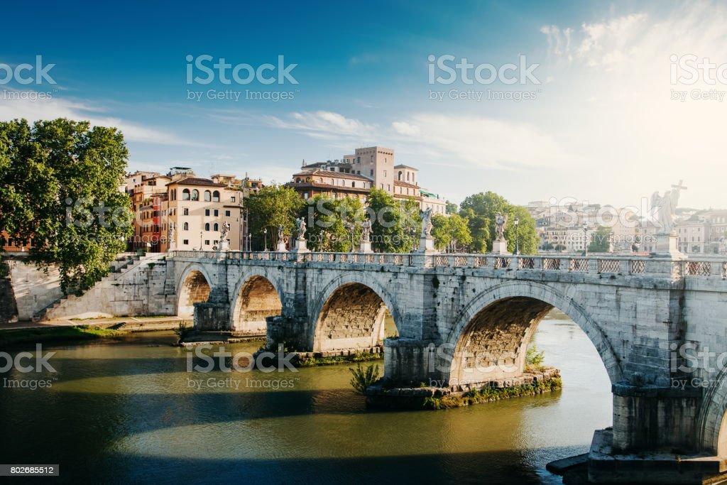 Ponte Sant Angelo. Bridge over Tiber river at Rome, Italy stock photo