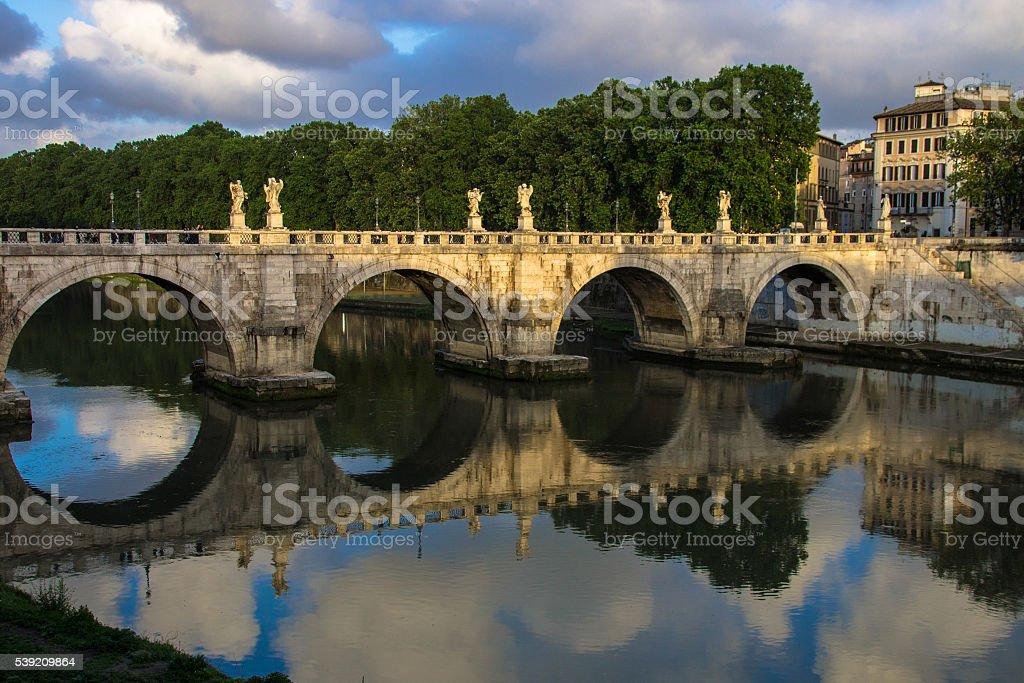 Ponte Sant' Angelo bridge reflections stock photo