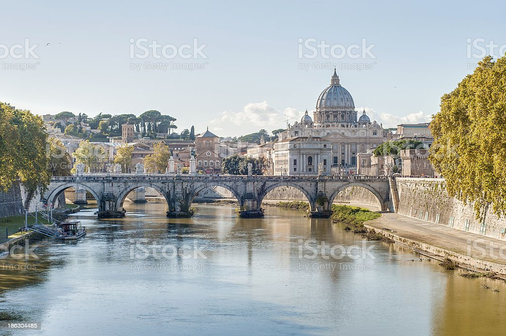 Ponte Sant'Angelo (Bridge of Hadrian) in Rome, Italy, royalty-free stock photo