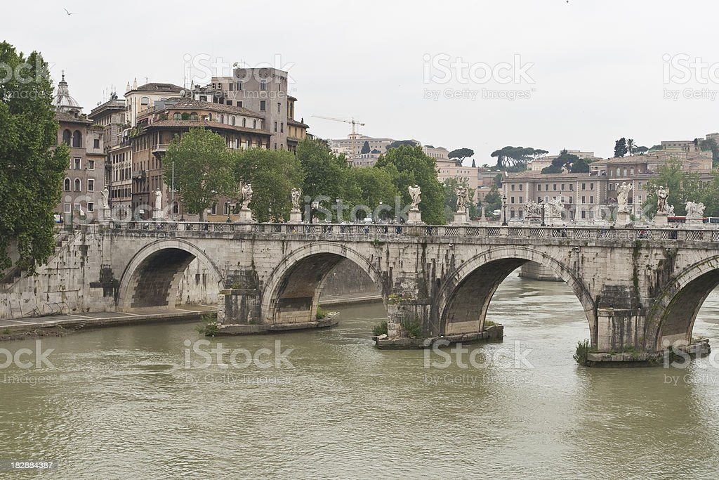 Ponte Sant'Angelo in Rome royalty-free stock photo