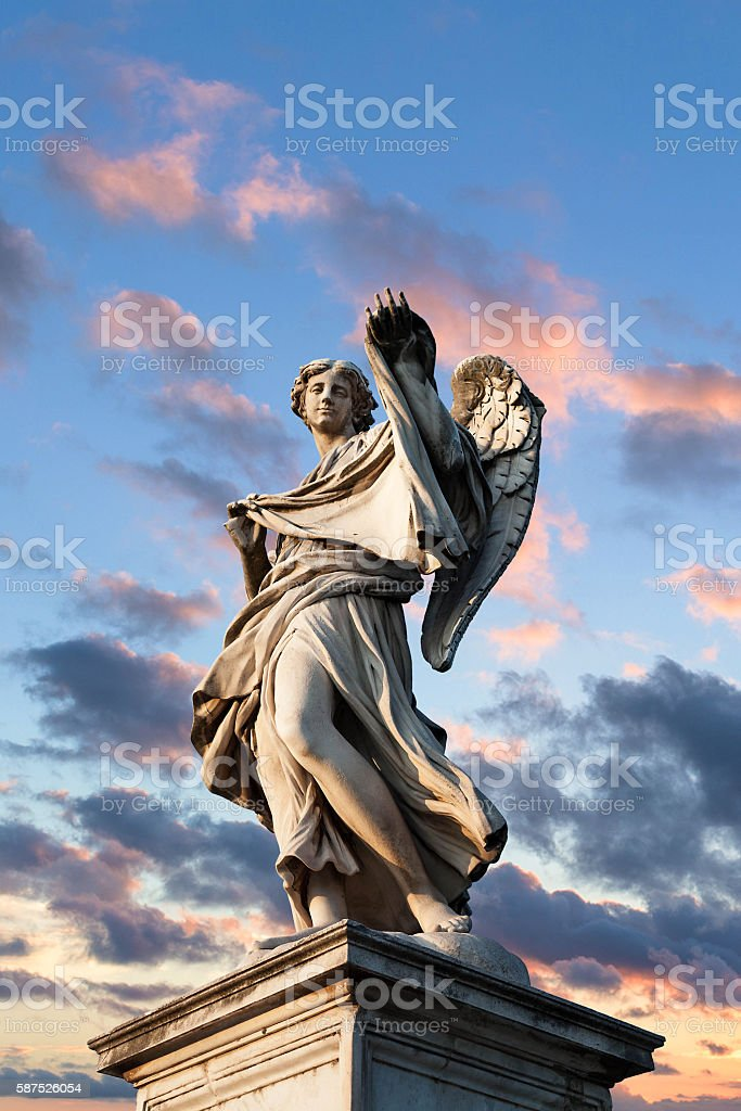 Ponte Sant'Angelo in Rome - Statue of Angel stock photo