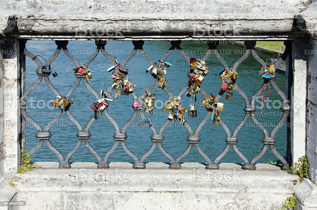 Ponte Sant'Angelo Locks in Rome, Italy stock photo