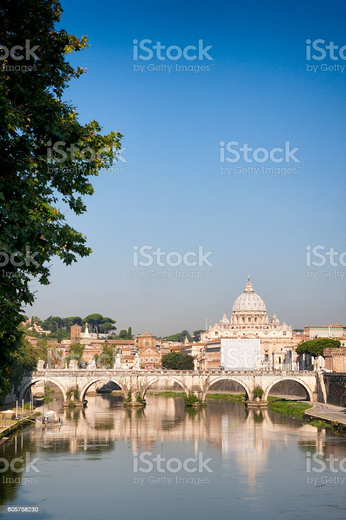 Ponte Sant'Angelo spanning the Tiber River in Rome, Italy stock photo