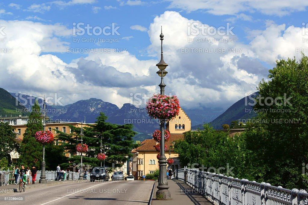 Ponte Talvera bridge in downtown Bolzano (Bozen) stock photo