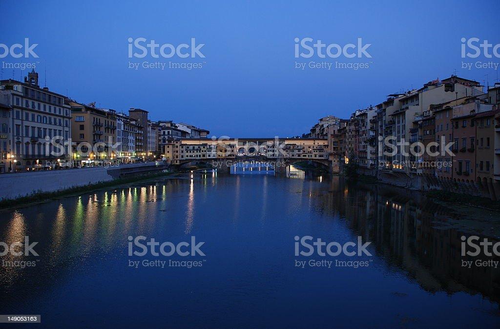 Ponte Vecchio After Sunset stock photo