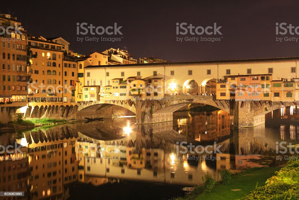Ponte Vecchio and Arno River at Night, Florence, Italy. stock photo