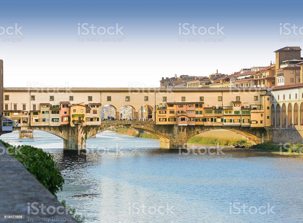 Ponte Vecchio (Old Bridge) and Arno River, Florence, Italy. stock photo