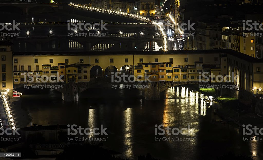 Ponte Vecchio and Florence by night royalty-free stock photo