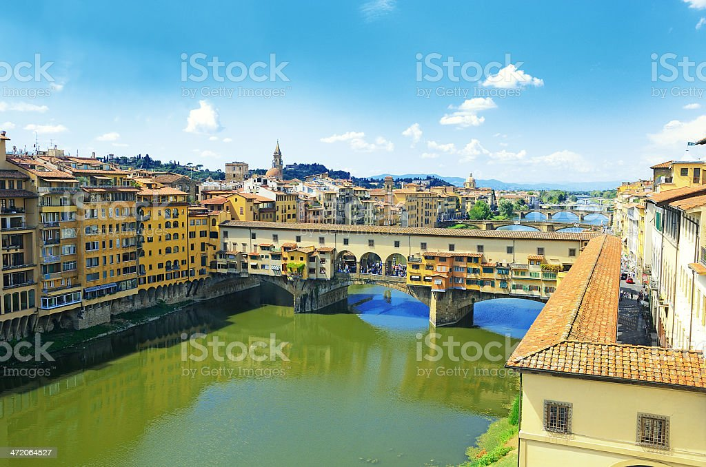 Ponte Vecchio and other bridges over river Arno in Florence stock photo