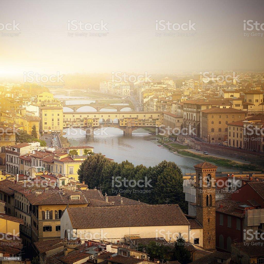 Ponte Vecchio and river Arno, Florence, Tuscany, Italy royalty-free stock photo