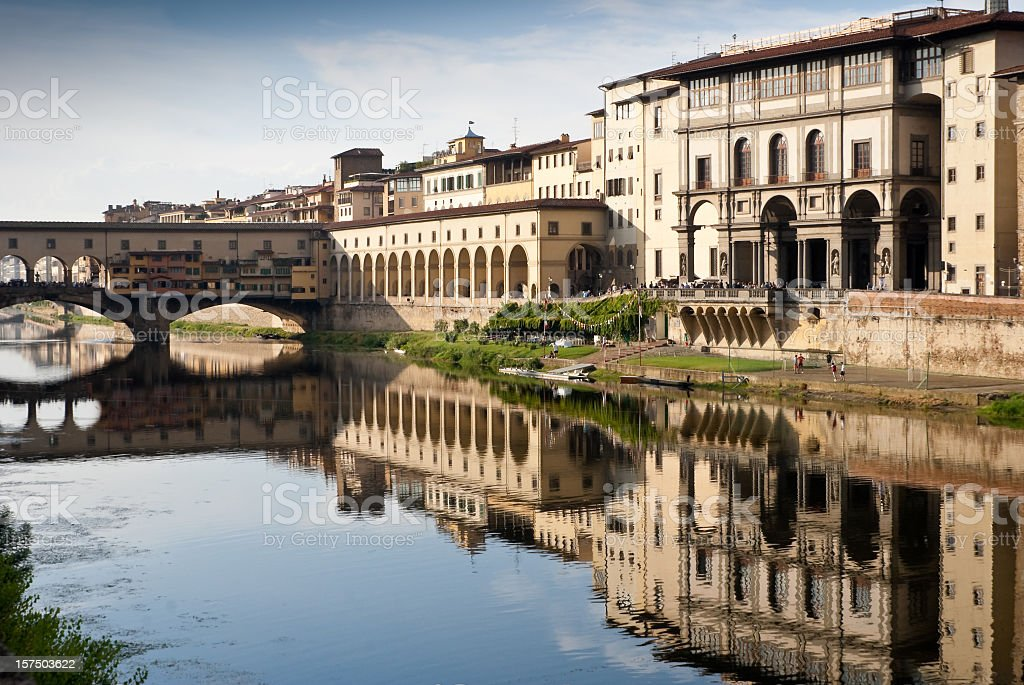 Ponte Vecchio and Uffizi Gallery in Florence, Italy stock photo