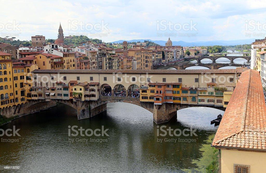 FLORENCE Ponte Vecchio and Vasari Corridor from Uffizi Museum stock photo