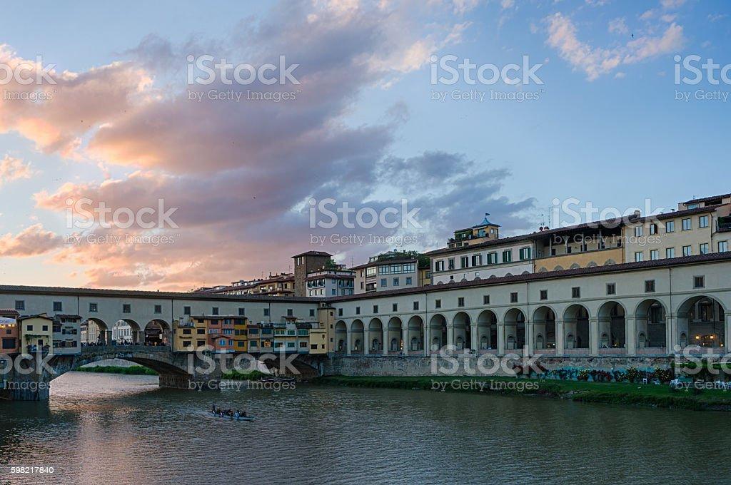 Ponte Vecchio and Vasari corridor on Arno river stock photo