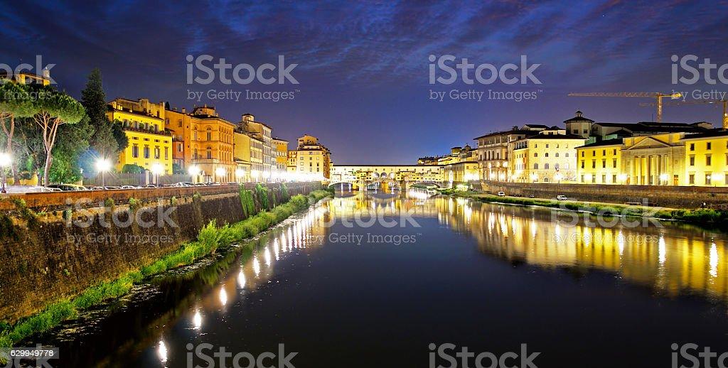 Ponte Vecchio at dusk, Florence stock photo