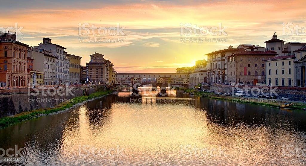 Ponte Vecchio at sunrise stock photo